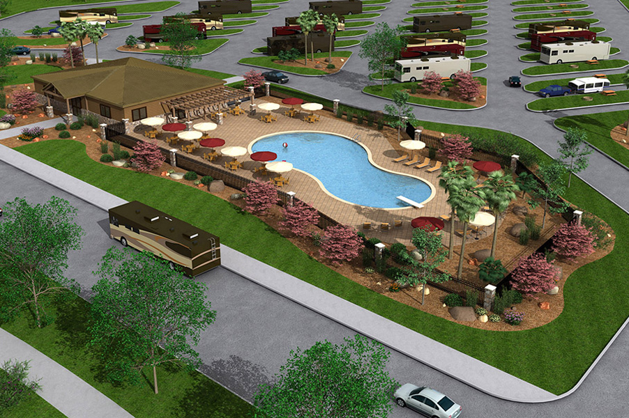 RV Resort Pool & Recreation Building Concept